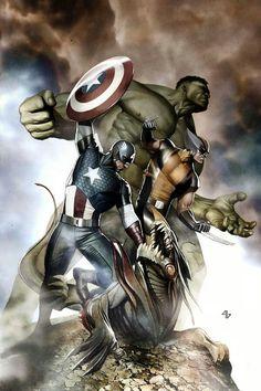 Captain America, Wolverine & Hulk