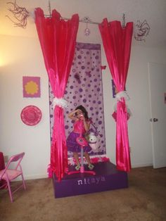 Little girls stage DIY... And when she grows up, replace the backdrop with a mirror so she can make sure she looks picture perfect for her first date, prom, etc.