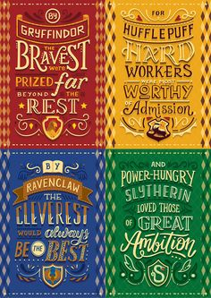 Lettering series in collaboration with Risa Rodil, featuring the Hogwarts Houses from Harry Potter.