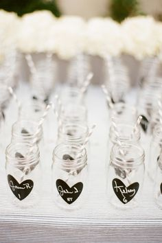 put your friends names on these cute black hearts on the side of mason jars, super cute for parties and weddings