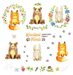 Woodland Friends. Watercolor animals clipart by StarJamforKids