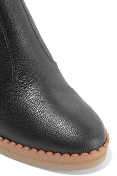 See by Chloé - Scalloped Textured-leather Knee Boots - Black - IT40