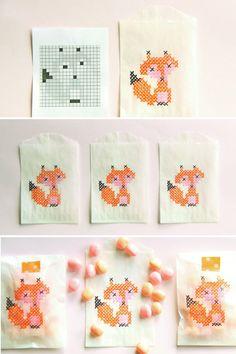 foxy faux cross stitch bag DIY {abby hunter for confetti sunshine}
