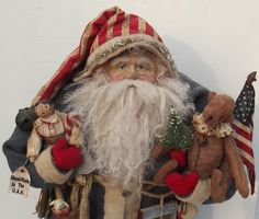 Handmade Patriotic Santa Claus~Teddy Bear & Primitive Doll By Kim Sweet~Kim's Klaus