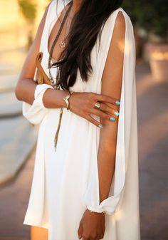 Slit Cutout Short Dress - Slit Cutout At Sheer Sleeves