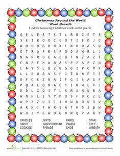 Christmas First Grade Word Search Worksheets: Santa Word Search
