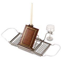 Across-the-Tub Satin Nickel Caddy - BedBathandBeyond.com: lol for the included wine glass holder!
