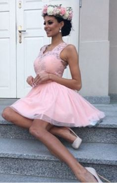 Pink Lace Tulle Short Homecoming Dresses