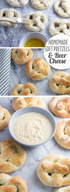 Easy homemade soft pretzels (no machine!) Served with Gouda beer cheese dip!
