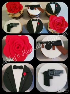 The Godfather themed cupcakes! Harry Birthday, Father Birthday, 70th Birthday Parties, Husband Birthday, 50th Birthday Party, Birthday Celebration, Gangster Party, Gangster Wedding, Italian Party Decorations