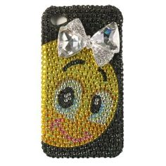 Iphone® 4s / Iphone® 4 Compatible Full Diamond Black Smily Face Ribbon