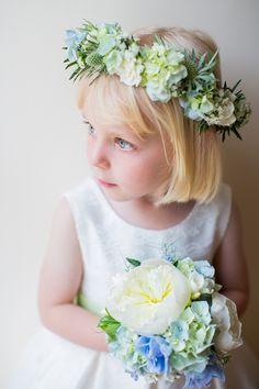 Blue & Green Wedding Thistles, Hydrangeas, Peonies, Delphinium, Nigella, Astrantia Freesias Bouquet http://www.katherineashdown.co.uk/