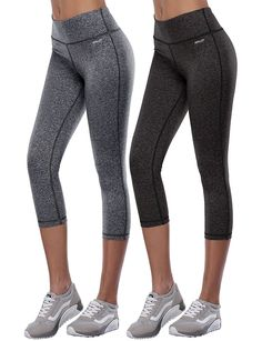 Aenlley Women's Activewear Yoga Pants High Rise Slim Fit Tights Cropped Capris Color Black of 2 >>> To view further for this item, visit the image link.