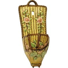 Choisy Le Roi Majolica Wall Pocket. Glazed Ceramic Basket Weave Wall Vase.