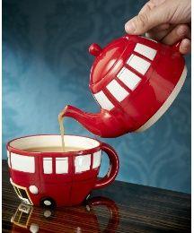 Double Decker Bus + Tea = One Happy Girl :)