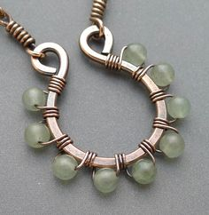 Oxidized Copper Hoop Necklace with Light Green Jade. Starting at $8 on Tophatter.com!