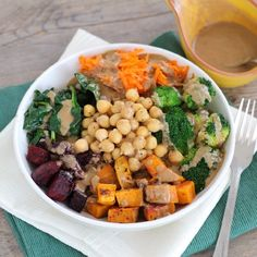 Chickpea & Veggie Brown Rice and Barley Bowl with Tahini Dressing - a colorful and flavorful vegetarian bowl full of goodness!