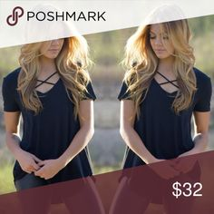 Camille Cross Top An everyday, every season top that you need to have in your closet, is easily the Camille Cross Top. This classic scoop neck adds a little extra character with crossed straps across the chest. Pair it with some dark distressed denim, nude flats, and an olive military jacket.  - 92% Rayon - 8% Spandex Tops