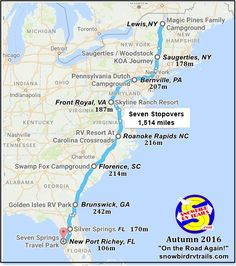 Our upcoming Southward Snowbird RV Route from Canada to New Port Richey, Florida. Fourteen days, seven stopovers, miles. Travel Trailer Decor, Rv Travel, Travel Maps, Road Trip Map, East Coast Road Trip, Road Trips, New Port Richey, Rv Campgrounds, 500 Miles