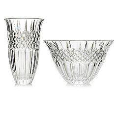 Marquis® by Waterford® Shelton Two-Piece Crystalline Flared Bowl & Vase Set - 446-040  ShopHQ Price: $96.00 Holiday Price: $52.31 	   Save: $43.69 (46% off) or  6 ValuePay®:  $8.72 Shipping & Handling: $14.99