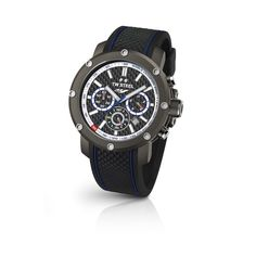 TW Steel Watch TECH TS7: This watch comes with sandblasted matt dark titanium case, Black silicon strap with Yamaha blue stripes and PVD dark titanium coated clasp. The features like Mineral crystal with sapphire coating and blue lines on the strap make this watch great in looks.