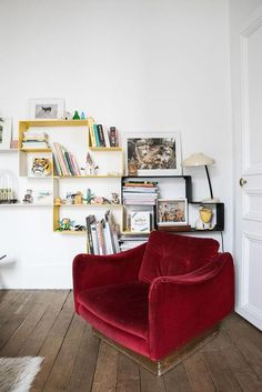 The ultimate red chairs and sofa inspiration collection! Make a singular statement by using red sparingly with a single dose, containing it all to a Living Room Chairs, Small Family Room, High Back Dining Chairs, Red Chair, Leather Dining Room Chairs, Interior Design, Home Decor, Sofa Inspiration, Oversized Chair And Ottoman
