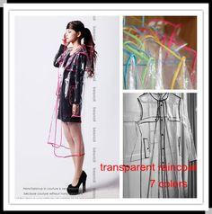 Fashion Women Unisex Transparent Clear PVC Vinyl Waterproof Runway Style Poncho Raincoat Rain Coat
