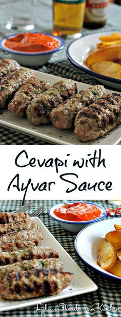 Cevapi with Ayvar Sauce ~ Fresh sausages with a Red Pepper and Eggplant Sauce ~ Lydia's Flexitarian Kitchen food macedonia Cevapi with Ayvar Sauce Sausage Recipes, Cooking Recipes, Grill Recipes, Bread Recipes, Cooking Tips, Macedonian Food, Croatian Recipes, Hungarian Recipes, Bosnian Recipes