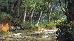 Kazuo Oga, Studio Ghibli, Studio Hibari, Spirited Away Landscape Concept, Fantasy Landscape, Landscape Art, Landscape Paintings, Landscapes, Studio Ghibli Background, Animation Background, Cartoon Background, Background Drawing