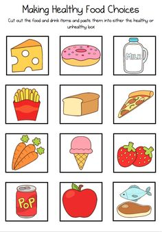 Use as a menu for House Area Health Activities, Toddler Learning Activities, Preschool Printables, Preschool Activities, Healthy Eating Pyramid, Healthy And Unhealthy Food, Letter P Crafts, Preschool Cooking, Dental