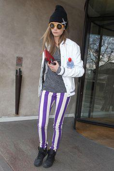 Cara Delevingne Workin' The Purple, Stripped Skinnies!