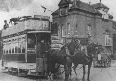 Lower Edmonton - Horse tram at Tramway Avenue c. 1900 - Lower Edmonton In Pictures Vintage London, Old London, North London, London Transport, Public Transport, Local History, British History, Vintage Horse, Horse Drawn