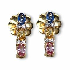 This is one additional lovely colorful gemstone earrings - Parris Jewelers Gemstone Colors, Gemstone Earrings, Diamond Engagement Rings, Colorful, Jewels, Gemstones, Amazing, Bijoux, Gems
