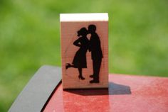 Couple Silhouette Kissing Perfect Wedding Red Rubber by JLMould, $14.95