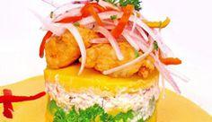 Causa. :)  Mashed potato with lime juice, chicken/tuna salad <3