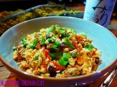 """Pork Fried Cauliflower """"Rice"""" - use turkey bacon and omit peas.  Phase 3 dish fast metabolism families"""