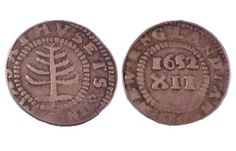 The Pine Tree Shilling,1652, first mint in the American Colony at Boston, Massachusetts