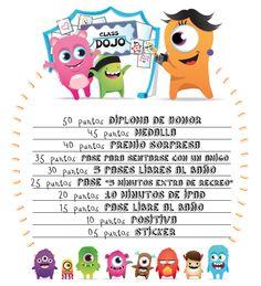#dojo #poster #premios @tereiniguez @classdojo Behaviour Management, Classroom Management, Behavior, Class Dojo, Teaching Time, Teaching Resources, First Grade, Second Grade, Monster Cards