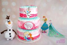 Torta di pannolini Frozen 3 piani (70 pannolini Pampers Baby Dry tg.3) www.facebook.com/AuguriDiversi