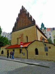 The Old New Synagogue is the oldest active synagogue in Europe. Legend has it that the actual stones from the Second Temple in Jerusalem were brought to Prague by angels to build the synagogue. By Luis Jacome.