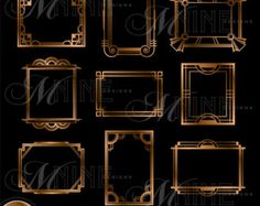 ART DECO CORNERS Clipart Digital Clip Art Instant By MNINEDESIGNS
