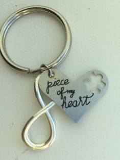 Piece of My Heart Puzzle Key Chain. Infinity charm. Wedding, Anniversary, birthday, Christmas, stocking stuffer, girlfriend,daughter,husband