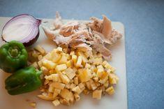 Chicken Scramble - leftover roast chicken mixed with eggs and garden veggies.