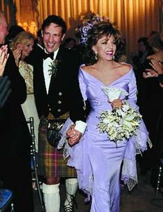 Not really vintage but had to post her lovely colored gown. Actress Joan Collin's wedding (her to Percy Gibson in Celebrity Wedding Photos, Celebrity Wedding Dresses, Celebrity Gallery, Celebrity Couples, Celebrity Weddings, Hollywood Couples, Hollywood Wedding, Famous Couples, Famous Women