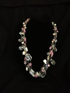 Pink White and Crystal Necklace Crystal by JerseaGirlSeaGlass, $40.00