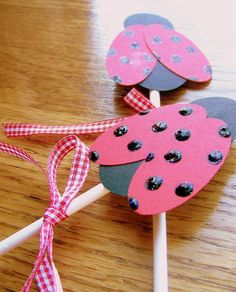 cupcake toppers ladybugs birthday shower party  by serenitylane, $11.50