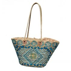 beach Baskets blue neon color Embroidery