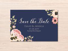 Navy and Blush Wedding Invitations ~ Navy Save the Date ~ Floral Save the Date ~ Peony Invitation ~ Save the Date Cards ~ Wedding Cards