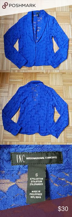 NWOT! INC Lace Blazer New without tags! Never worn! Gorgeous blue lace I.N.C. Blazer  -size small -single hook closure -bought from Macy's two months ago I.N.C.  Jackets & Coats Blazers