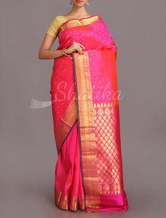 Geetha Golden Fan Shell Motifs Festive Pure #SalemSilkSaree